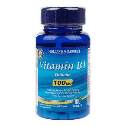 Vitamina B1 (Tiamina), 100 mg, 100 tablete, Holland & Barrett
