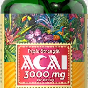 Acai (tripla concentratie), 3000 mg, 120 gelule – Puritan's Pride