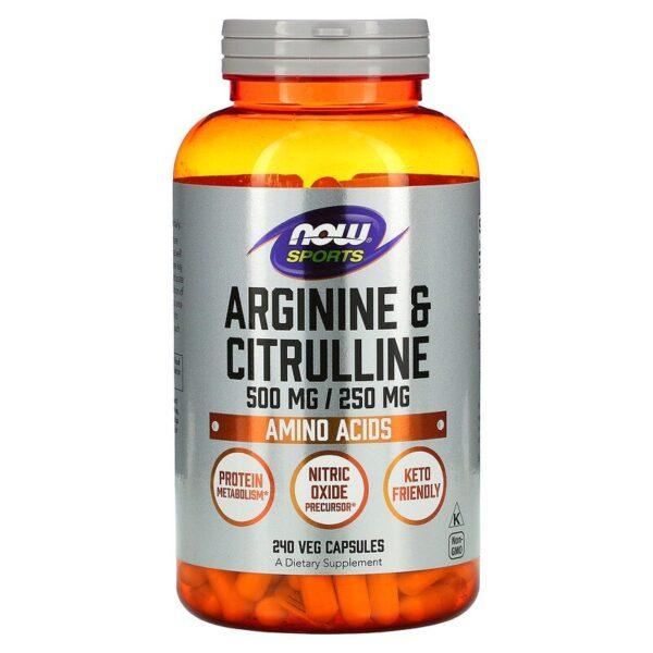 L-Citrulina & L-Arginina, 240 capsule, Now Foods