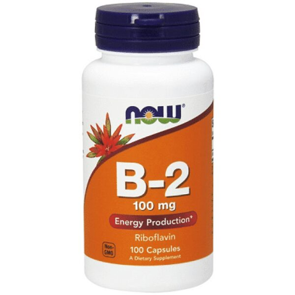 Riboflavina (Vitamina B2), 100 mg, 100 capsule - NOW