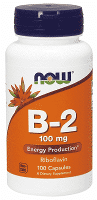 Riboflavina (Vitamina B2), 100 mg, 100 capsule - NOW